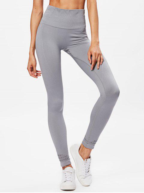 hot Performance Moto High Waisted Leggings - LIGHT GRAY M Mobile