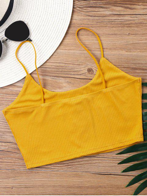 trendy Knitted Lace Up Crop Tank Top - MUSTARD XL Mobile