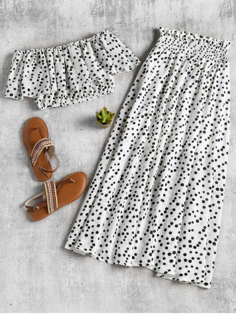 new Polka Dot Crop Top and Skirt Set - WHITE XL Mobile