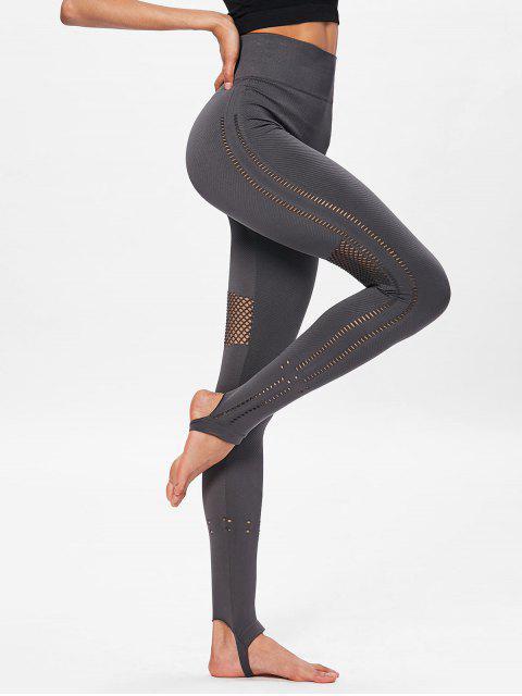 Leotardos deportivos de cintura alta sin costuras de Moto Yoga - Lobo Gris L Mobile