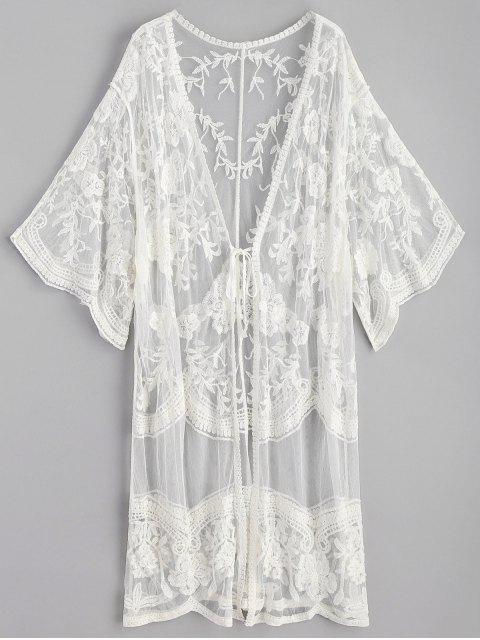 fancy Embroidered Long Kimono - WHITE ONE SIZE Mobile