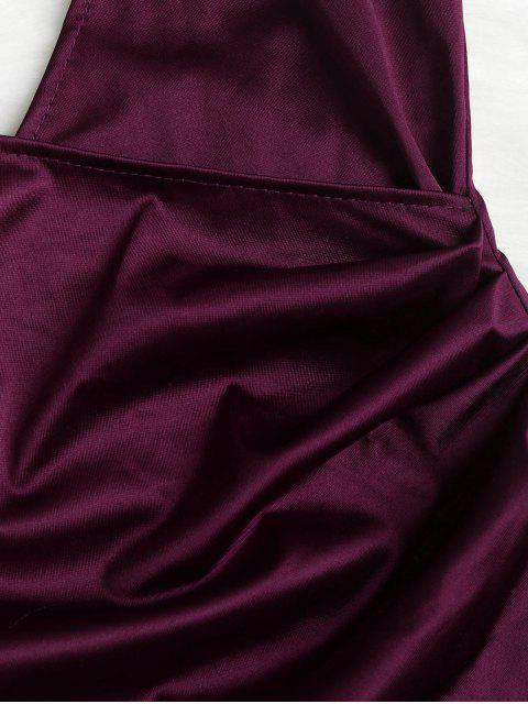fancy Cami Draped Crossover Slip Party Dress - PLUM VELVET M Mobile