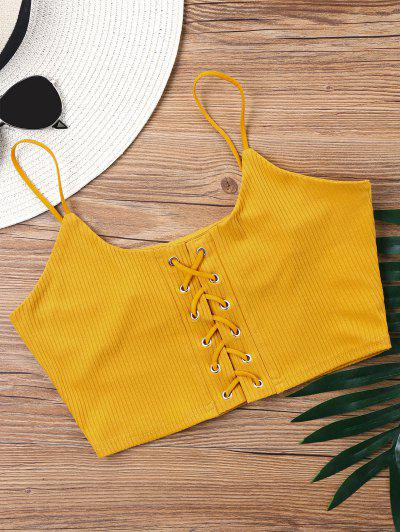 Knitted Lace Up Crop Tank Top - Mustard Xl