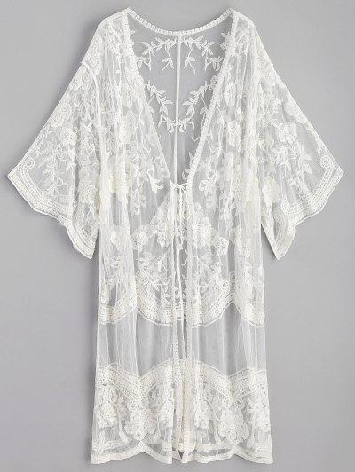 Embroidered Long Kimono - White