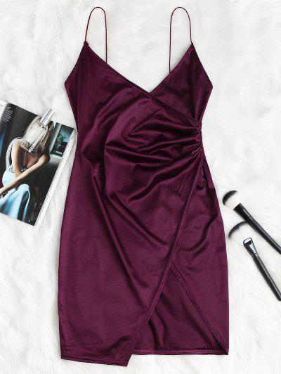Cami Draped Crossover Slip Party Dress - Plum Velvet L