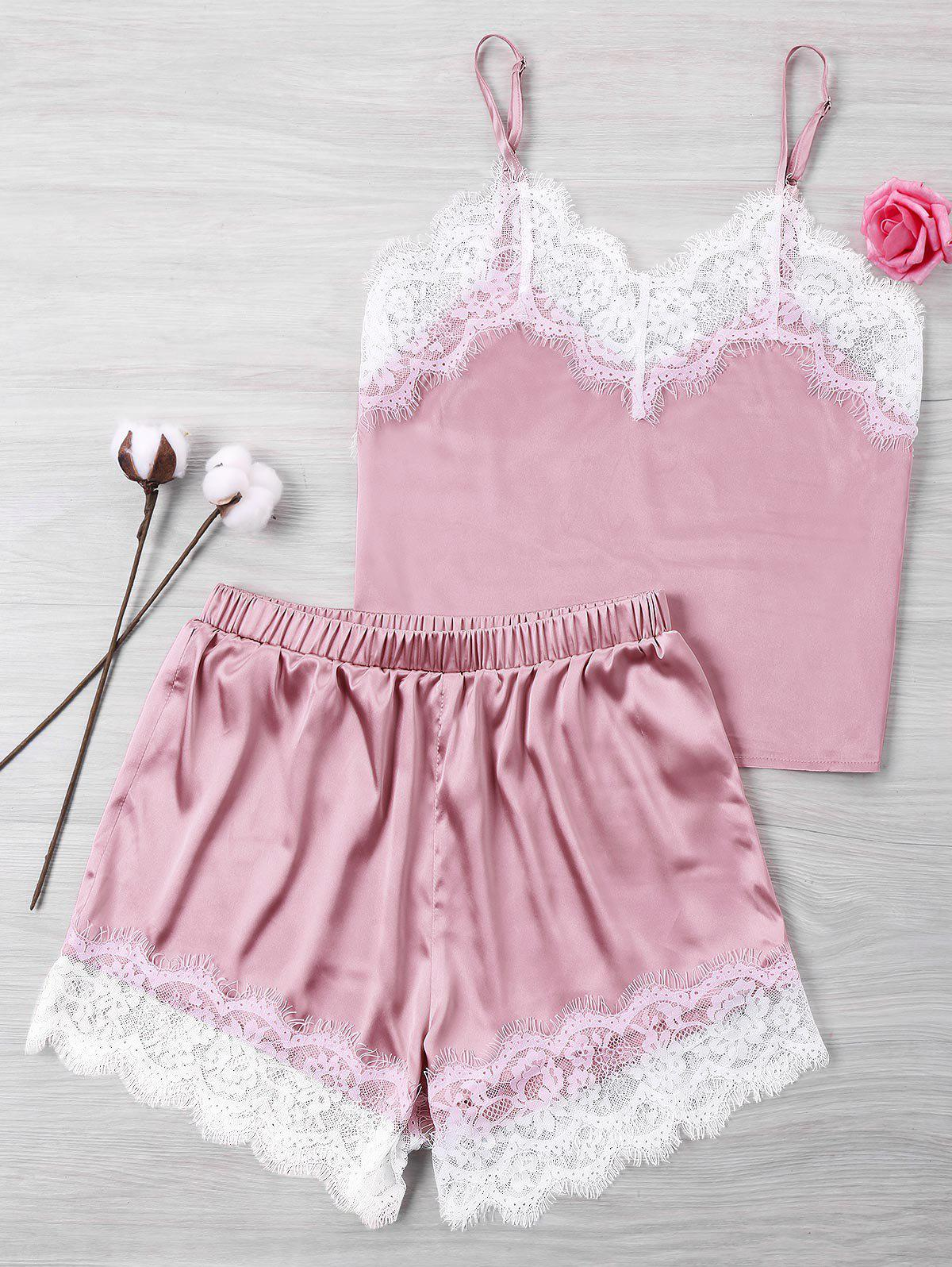 Lace Satin Cami And Sh