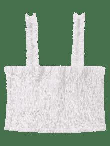 Top Xl Crop Blanco Shirred Square Neck wqB7BzRt