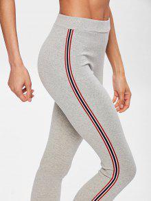 4fd4569093d94 46% OFF] 2019 Side Stripe Workout Pants In LIGHT GRAY | ZAFUL