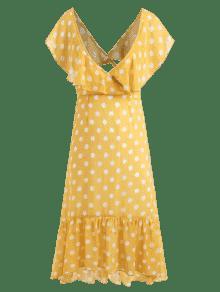 A Volantes Vestido Pierna Con De Lunares Ma Amarillo Media S7nznUxd