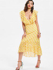 فستان البولكا نقطة كشكش ميدي - ذرة صفراء Xl