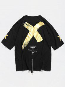 Camiseta Cruzado Algod 243;n Negro Estampado De Con Estampado M Con 6xqwHF610r
