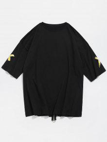 Con M Estampado Con Cruzado De Estampado 243;n Camiseta Algod Negro BPXCnZ