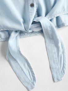De Mangas Con Azul Jeans Sin Botones L Chambray Camiseta FYw5nZqtX