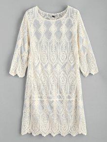 فستان بيتش مطرز - الأبيض الدافئ