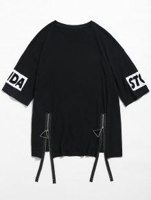 T Front shirt M Zip Pattern Negro Animal z0xSqUw