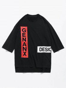 Asim Estampada S 233;trica Lateral Camiseta Negro Abertura Con 5Hnpdnawq
