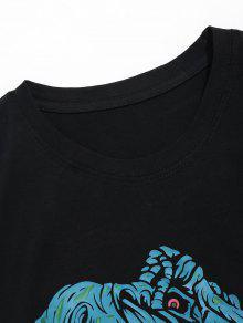 Manga Negro De De Dinosaurios Camiseta Corta Estampado M Con 4q5Pwngx7R
