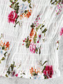 Descubiertos Corto Descubiertos Blanco Con Florales Hombros Con Hombros Top ASRHwvqTA