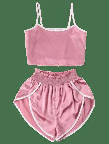 b94b1a94d95ed 29% OFF   HOT  2019 Contrast Trim Cami And Shorts Set In PINK