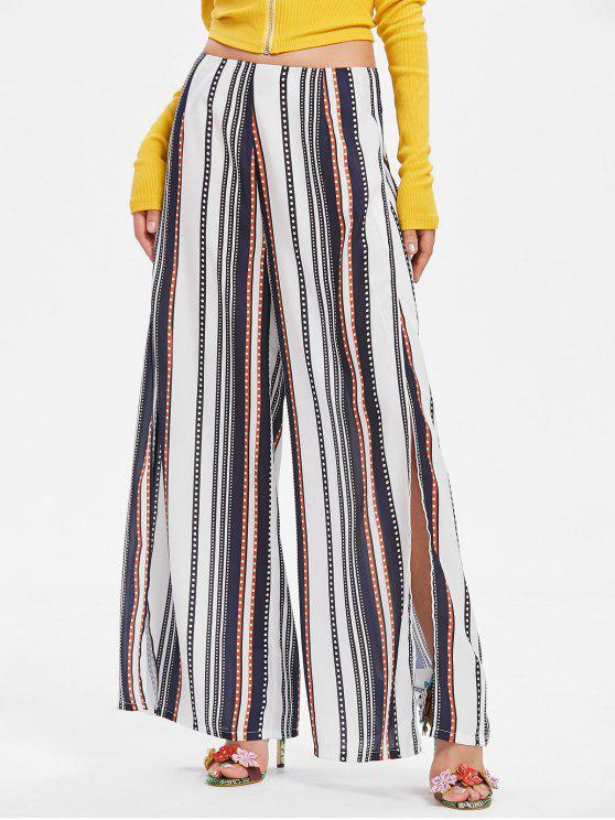 trendy Stripes Slit Wide Leg Pants - MIDNIGHT BLUE XL