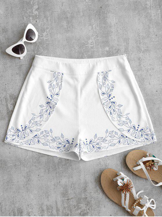 women Leaves Print High Waist Shorts - WHITE S