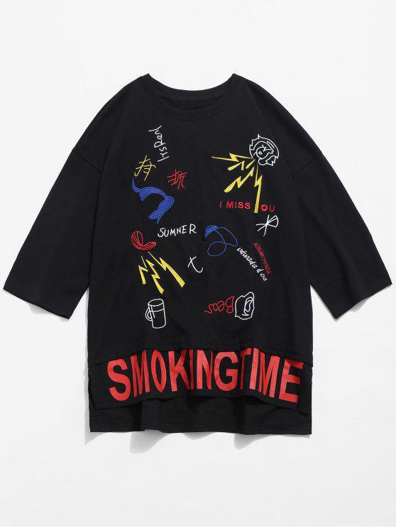 best Side Slit Embroidery Grommet T-shirt - BLACK L