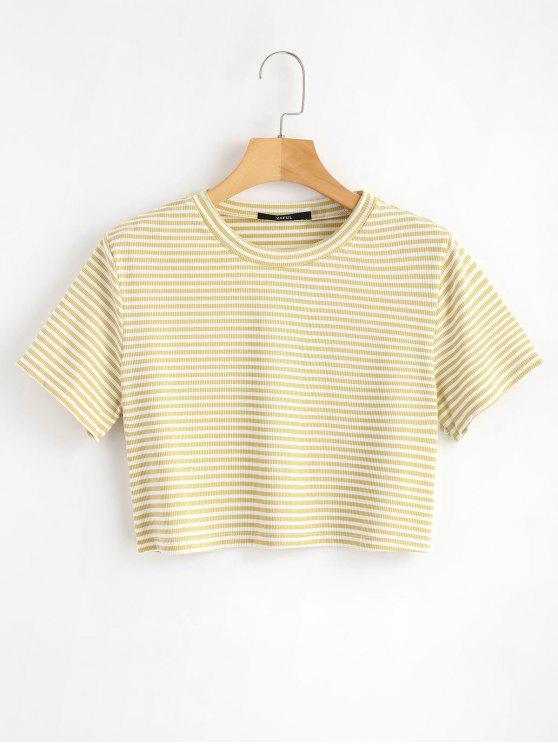 Camiseta com nervuras listrada - Baunilha L