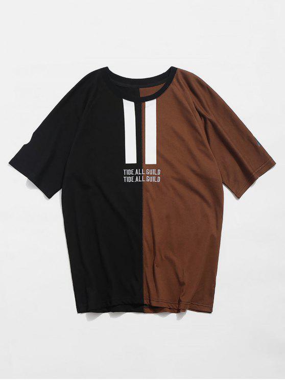 Camiseta con bordado estampado de dos tonos - Caqui Oscuro 2XL