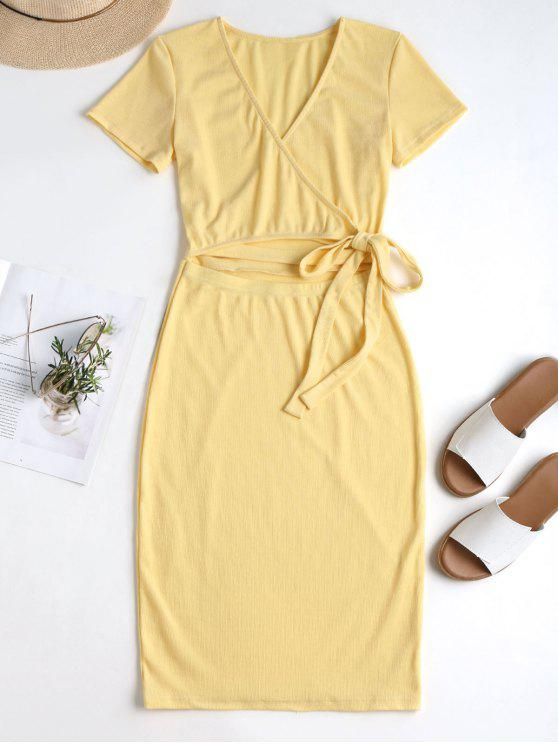 new Wrap Cut Out Knitted Midi Dress - SUN YELLOW M
