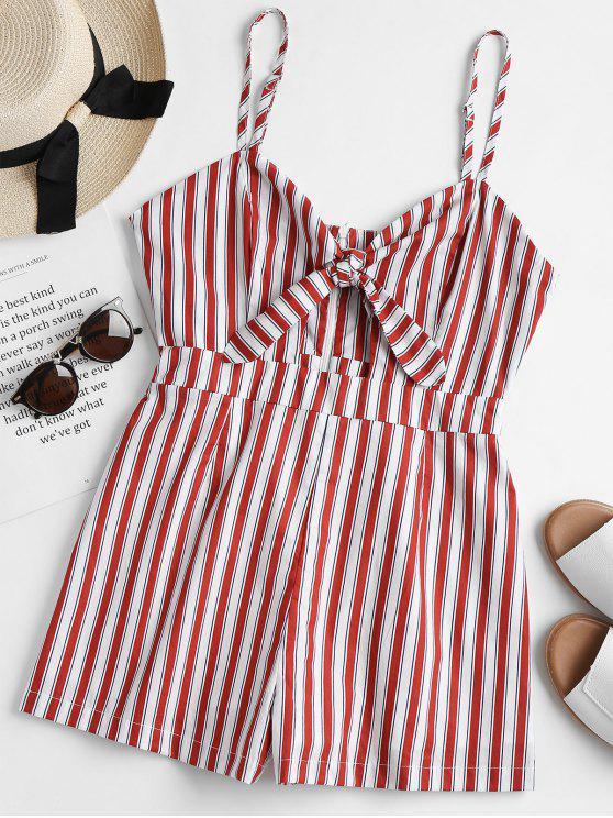 trendy Striped Tie Front Cami Romper - RED WINE M