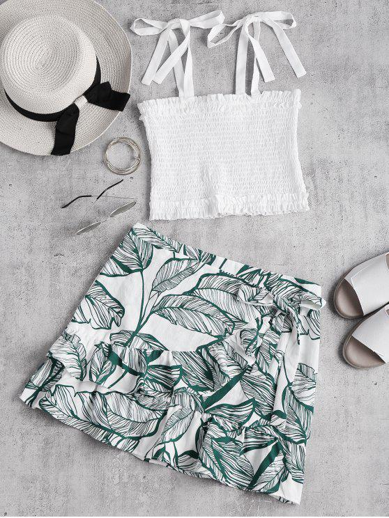 trendy Smocked Top and Ruffle Skirt Set - WHITE S