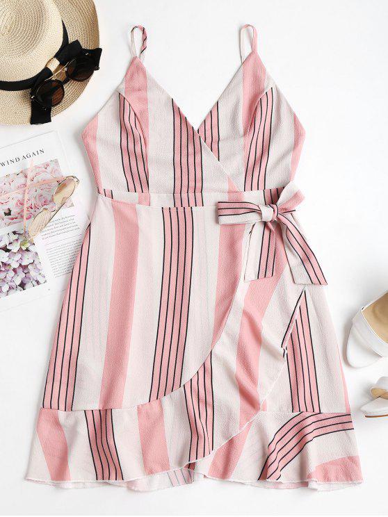 hot Backless Striped Cami Dress - LIGHT PINK L