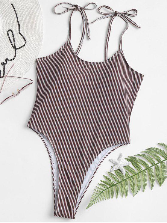 Swimsuit de corte alto de ombros com gravata listrada - Café S