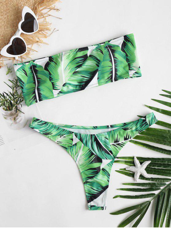 Conjunto de Bikini con Tanga de Hoja con Cordones - Alien Verde L