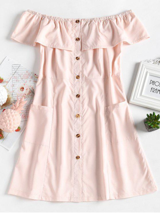 new Button Up Off Shoulder Mini Dress - LIGHT PINK S
