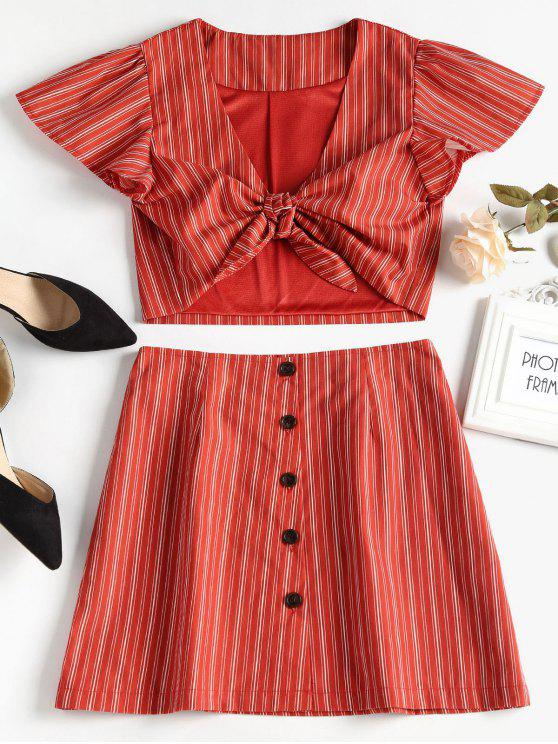 outfits Tie Front Top and Button Up Skirt Set - CHERRY RED S