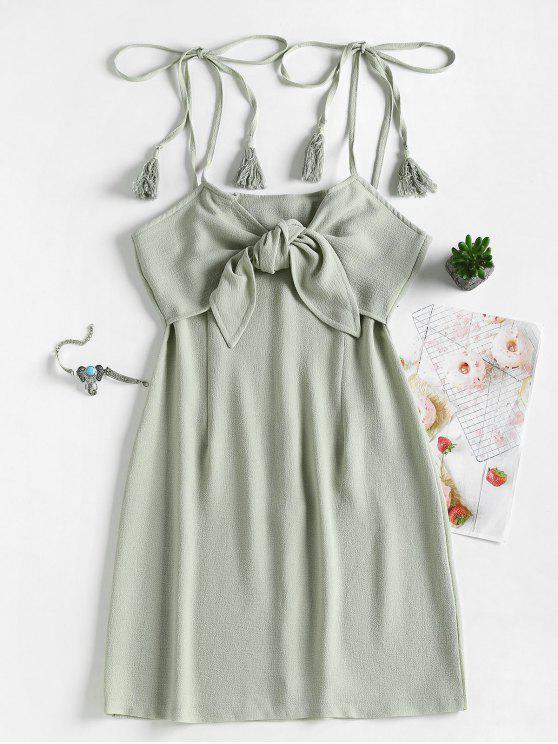 outfits Tie Front Tassels Mini Dress - SAGE GREEN M