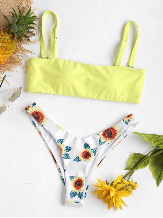 Bikini de tanga de pierna con estampado de girasol - Amarillo L