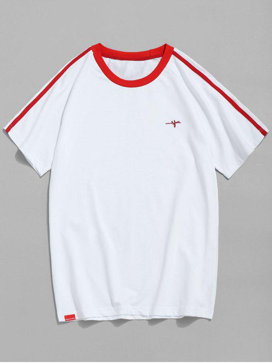 buy Raglan Sleeve Contrast Trim T-shirt - RED 2XL
