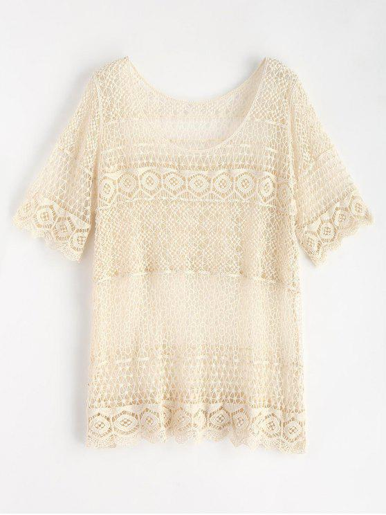 shops Scallop Trim Crochet Top - WARM WHITE ONE SIZE