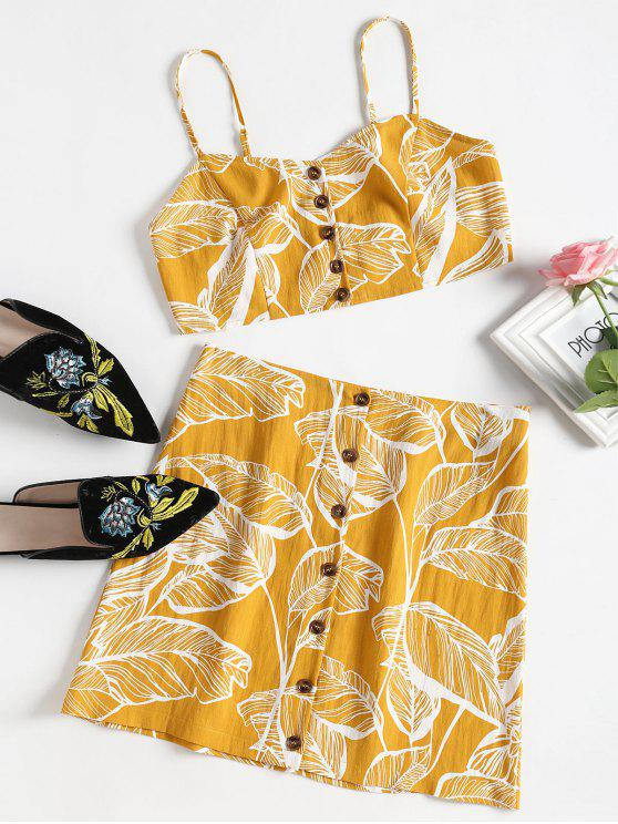 best Leaves Print Buttoned Cami Set - BRIGHT YELLOW M