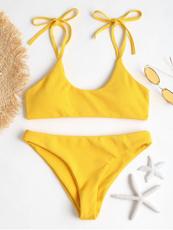outfit ZAFUL Tie Shoulders Ribbed Bikini - BRIGHT YELLOW S
