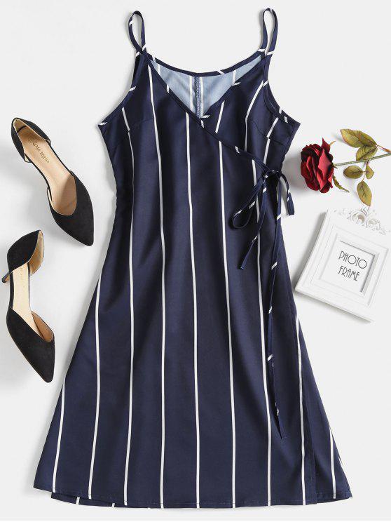 Robe Portefeuille Courte Rayée - Bleu de nuit L