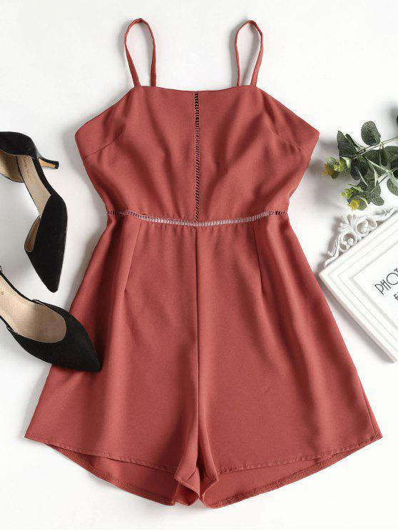 trendy Knotted Eyelet Cami Romper - BEAN RED M