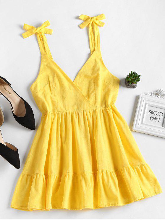 shop Open Back Ruffles Mini Dress - YELLOW L