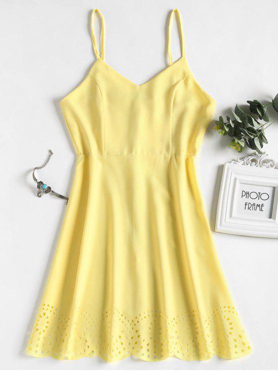 women Laser Cut Scalloped Slip Dress - YELLOW S