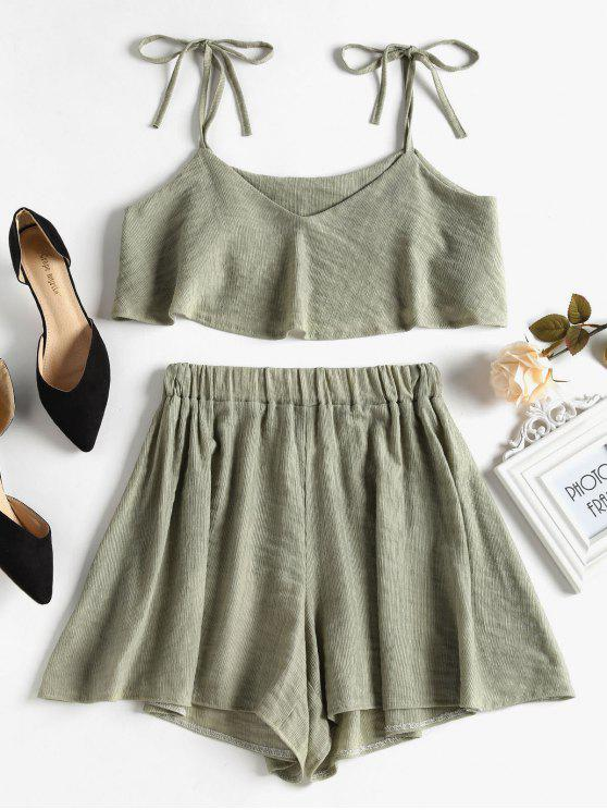 outfits Tied Straps Overlay Top and Shorts Set - SAGE GREEN M