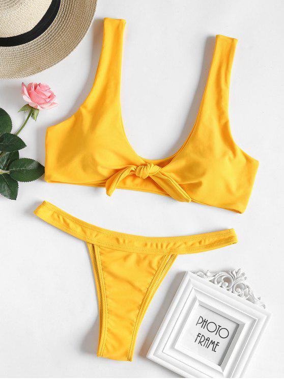 Conjunto de bikini Bowtie Thong - Amarillo Brillante L
