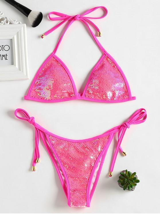 women's Sequined Scrunch Butt String Bikini Set - DEEP PINK L
