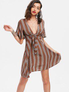 Vestido De Corte Bajo A Rayas - Tierra De Siena L